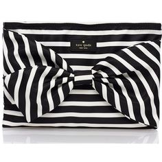 Kate Spade On Purpose Nylon Wristlet ($88) ❤ liked on Polyvore featuring bags, handbags, clutches, black nylon handbag, kate spade wristlet, wristlet clutches, black bow purse and kate spade clutches