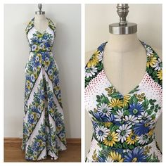 """NWT Anthropologie Floral Halter Maxi Dress, 4 Anthropologie Soraya Halter Maxi by 9-H15 S'CL, new with original tags! Size 4. Linen, Rayon, Cotton. Black and white, red polka dots, blue, yellow flowers, green leaves. Halter tie neck, fitted empire waist, a-line skirt, lots of volume. Top is lined. Side zipper, back has stretch panel. Bust: 34-36"""", Empire Waist: 28"""", hips free, length: 62"""". Anthropologie Dresses Maxi"""