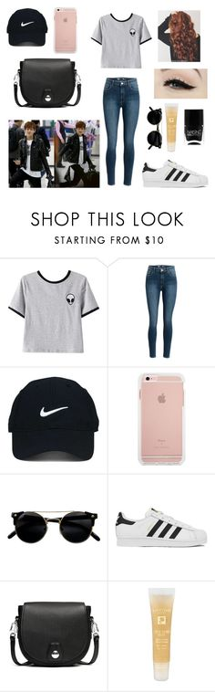 """""""Airport with Taehyung"""" by bts-outfit-imagines ❤ liked on Polyvore featuring Chicnova Fashion, Anatomy Of, Nike Golf, adidas, Nails Inc., rag & bone and Lancôme"""