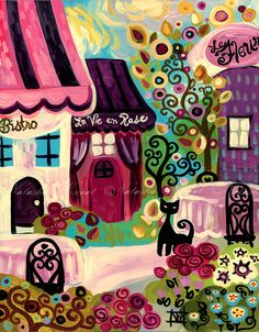 Paris France Folk Art Print La Vie en Rose Bistro cat 13x19 by Natasha Wescoat