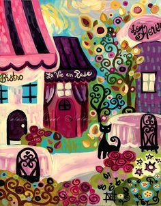 Paris France Folk Art Print La Vie en Rose Bistro by wescoatart #piagetrose