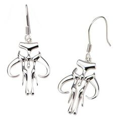 Women's STAR WARS™ Mandalorian Symbol 925 Sterling Silver Cutout Dangle Earrings : Target