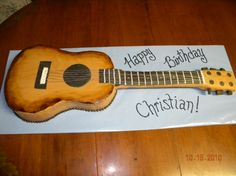 Acoustic guitar cake - actual size of junior guitar.