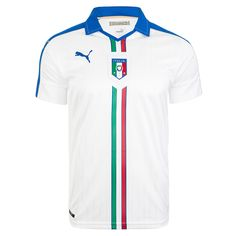 The Azzurri will look to make a statement in the 2016 European Championships. So, new for Euro 2016, the Puma Italy away jersey features a great white jersey with blue details on the shoulders. The racing strike of green, white, and red help to show off the colors of the Italian flag. Get your Italy soccer jersey today at SoccerCorner.com.  http://www.soccercorner.com/Puma-Italy-Away-2015-16-Replica-Soccer-Jersey-p/tt-pu748922-02.htm