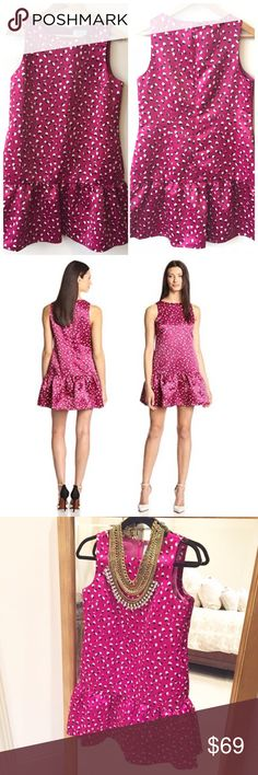 """CeCe by Cynthia Steffe Pink Drop Waist Dress 10 CeCe by Cynthia Steffe. Drop Waist Dress. Size 10. Retail: $148. Bright pink color with black and cream petal pattern. Sleeveless. Satin. Drop Waist style with flouncy, ruffled skirt. Concealed zipper in back with hook. Two on-seam pockets on hips. Above-knee. Length: 32.25"""". Bust: 37"""". Waist: 34"""". Hips: 40-44"""". Fabric: 100% Polyester. Fully lined in 100% Polyester. New without tag condition. Never worn. No flaws. 🛍20% Off Bundles of 2+ Items…"""