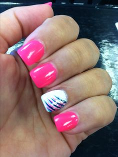 Hot pink and white nails with colorful stripes @Elizabeth Lockhart Fillyaw