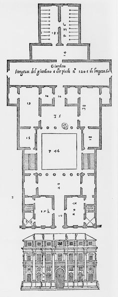 Andrea Palladio: Palazzo Valmarana, 1565, Vicenza, Italy; plan and elevation from Palladio's 'Quattro Libri dell'Architettura', Venice, 1570