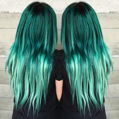 Teal Ombre Hair