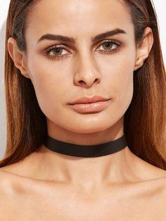 Black Faux Leather Simple Choker Necklace