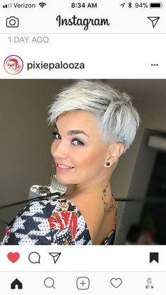 Kurzhaarfrisuren – hairstyles - All For Little Girl Hair Short Grey Hair, Short Hair Cuts, Short Hair Styles, Pixie Cuts, Short Pixie, Hair Color And Cut, Haircut And Color, Sassy Hair, Funky Hairstyles