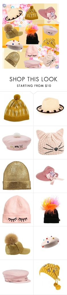 """Happy Hats!"" by alexxa-b ❤ liked on Polyvore featuring Hilary Grant, Benoît Missolin, Mini Cream, Karl Lagerfeld, Gucci, H&M, Piers Atkinson, Maison Michel, happy and hats"