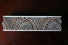 Hand Carved Indian Wood Textile Stamp Block- Geometric /Floral Border