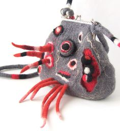 Felted  handbag small Grey with fringes geometric gift under 75. $74.00, via Etsy.