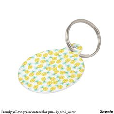 Trendy yellow green watercolor pineapple pattern pet ID tag