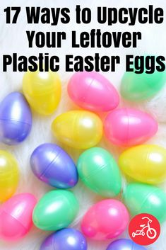 How to Upcycle Plastic Easter Eggs - Diy and crafts interests Dollar Tree Storage Bins, Mason Jars, Plastic Easter Eggs, Plastic Egg Crafts For Kids, Diy Hanging, Valentines Diy, Easter Crafts, Easter Ideas, Easter Decor