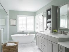 Coastal contemporary spa-styled master bathroom [Design: Krista Watterworth Design Studio]