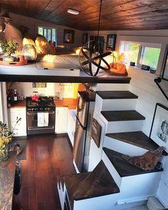 Good Loft Stair for Tiny House Decor Ideas - Ma Home Design Tiny House Loft, Tiny House Living, Tiny House Plans, Tiny House Design, Home And Living, Tiny Houses, Rv Living, Living Rooms, Tiny House Bedroom