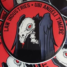 """We have restocked the store with stickers including a new one! Billie, the puppet from Saw is available in two sizes, a full 3"""" round sticker and a 2""""x2"""". In addition the vulture is back which has always proved popular as well as our unit style sticker. We have others stickers too, a few are limited editions and running out. The patches are being sorted too and we will update when we know more. Also coming in the next few days is the restock of Pouches and other items! Military Personnel, Vulture, Round Stickers, Law Enforcement, Puppets, Pouches, The Unit, Popular, Running"""