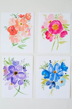 Colorful Poppy Bouquets Watercolor Greeting by ShannonKirsten
