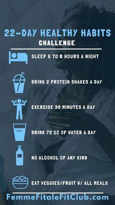Need guidance on leading a fit and healthy lifestyle? Then join our 22-Day Healthy Habits Challenge which will give you healthy prompts to be mindful of on a daily basis. #healthyhabits #wellness #drinkwater #SelfCare #getsleep #fitnesschallenge #22daysnutrition #22daysproteinpowder #plantbased #22daysnutrition 22 Days Nutrition, Health And Nutrition, Health And Wellness, Fitness Tips, Fitness Challenges, Fitness Workouts, Health Programs, How To Get Sleep, Wellness Tips