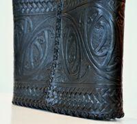Maori Design Patrick james Carved Leather Kowhaiwhai Kete Back