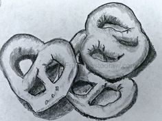 Maybe it's a little bit silly, but a daily practice sketch of a handful of mini pretzels drawn in pencil. Some Ideas, Pretzels, Cool Drawings, Fun Things, Heart Shapes, Pencil, Sketch, Mini, Fun Stuff