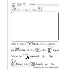 Fichier PDF téléchargeable En noir et blanc seulement 1 page website full of easter activities!  L'enfant dessine le lapin de Pâques, puis il le décrit en encerclant la bonne réponse à chaque question illustrée.