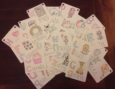 Magnetic alphabet cards for the little one, each letter is something she likes (apart from x and y)