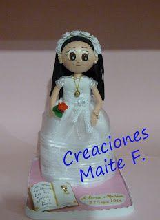 FOFUCHAS. Manualidades y Creaciones Maite: FOFUCHA NIÑA COMUNION PERSONALIZADA CON FLOR