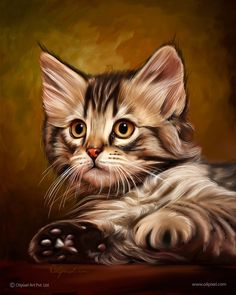 paintings of cats and kittens | Cat Digital Painting | Professional Portrait Painting for Cat ...