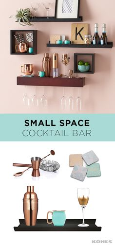 Most of us are short on space (yet most of us would still love to have our own home bar). This vertical bar cart solves both problems. By taking advantage of underused wall area, your apartment or small space does have room for a unique bar, perfect for hosting cocktail parties or just relaxing at the end of the day. Coordinating barware from left to right: copper cocktail accessories, LC Lauren Conrad pastel coasters, copper cocktail shaker, turquoise and copper Moscow Mule mugs, tall wine…