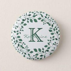 Green leaves watercolor wreath | Monogram Pinback Button - watercolor gifts style unique ideas diy