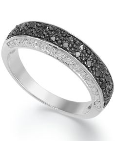 Victoria Townsend Sterling Silver Black Diamond (1/4 ct. t.w.) and White Diamond Accent Band Ring