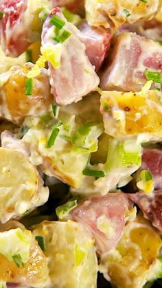 The Ritz Carlton Potato Salad ~ THE BEST... This potato salad is light on the mayonnaise and full on the fresh herbs and vegetables.