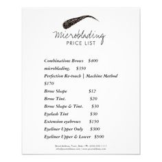 Shop Microblading Eyebrow Shape Tattoo Price List Flyer created by Jolanta_Prunskaite. Eyelash Tinting, Eyebrow Tinting, Eyebrow Tips, Eyebrow Pencil, Eyebrow Quotes, Brow Studio, Tattoo Prices, Permanent Makeup Eyebrows, Eye Makeup
