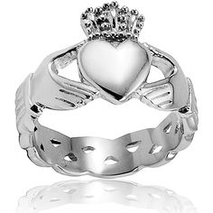 I love the celtic knot band with this claddagh ring..perfect!