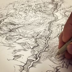 Love the drawing style, the river, the canyon,  Zion  /// Zion canyon. Virgin River. #stayDrawn @meridian_line