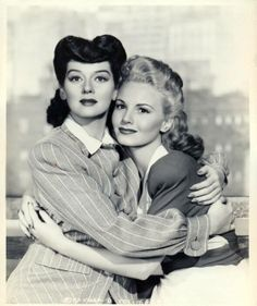 With Janet Blair in MY SISTER EILEEN (1942). Russell later starred in the Broadway musical version, WONDERFUL TOWN, and won a Tony for it.