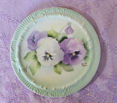 Artist Signed Vintage Hand Painted PANSIES PLATES by OnlyTreasures