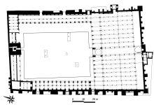 Esquema en T de la mezquita de Kairuán (Túnez), siglo VII. Es considerado el templo musulmán más antiguo de Occidente.