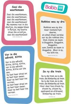 Hier's die woorde van al die ou bekende Afrikaanse rympies en liedjies, in pragtig ontwerpte drukstukke deur Baba & Kleuter! Toddler Learning Activities, Infant Activities, Classroom Activities, Early Education, Kids Education, Motivation For Kids, Classroom Expectations, Kids Poems, Rhymes Songs