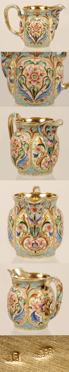 A Russian silver gilt and shaded cloisonne enamel creamer, Feodor Ruckert, Moscow, 1896-1908. Of traditional form, the body is completely decorated in multi-color scrolling foliate and floral roundels against patterned aqua ground.