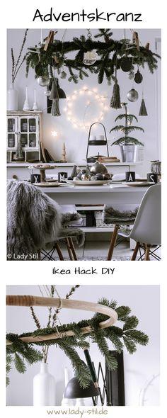 DIY Advent wreath hanging - Home Page Ikea Christmas, Christmas Hacks, Christmas Decorations To Make, Christmas Wreaths, Holiday Decor, Ikea Xmas, Hula Hoop, Advent Wreath, Diy Wreath