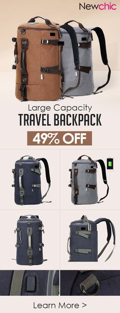 US$38.27 Canvas Multi-functional Large Capacity USB Charging Port Backpack Travel Bag For Men#travelblog #outdoor #backpacking #bags