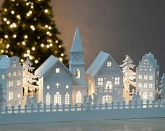 me ~ 21 Wooden House Light Christmas Decorations Christmas Crafts For Adults, Christmas Village Houses, Christmas Village Display, Christmas Villages, Xmas Crafts, Paper Crafts, Dollar Tree Christmas, Christmas Room, Noel Christmas