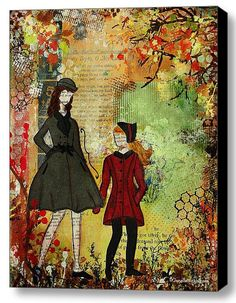 Giclee Canvas Our Best Memories Fall Sisters by JanelleNicholArt
