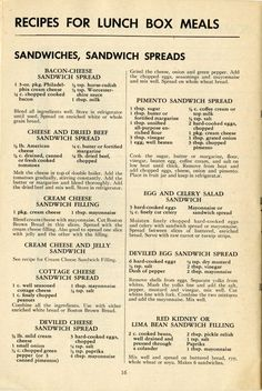 Vintage Recipes for sandwiches and sandwich fillings - some show promise for apps or snacks