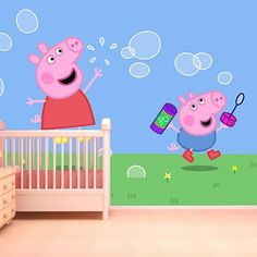 pig peppa bedroom mural background kitchen bed paintings pigs vgo ltd childrens wallpapers visit rooms google xl discover