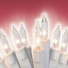 Set of 100 Clear White Mini Icicle Christmas Lights - White Wire