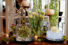 water bubbles with floating candles and submerged flowers
